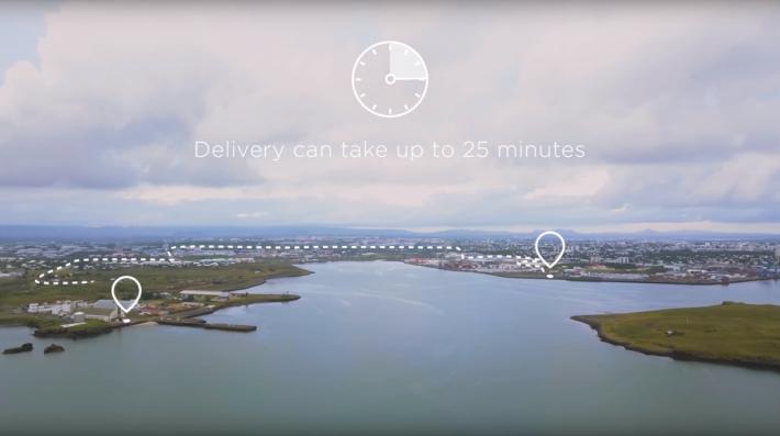 原本需要 25 分鐘路程,使用無人機 4 分鐘便可到達。