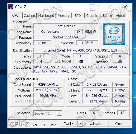 i7-8700K 的 CPU-Z 規格。