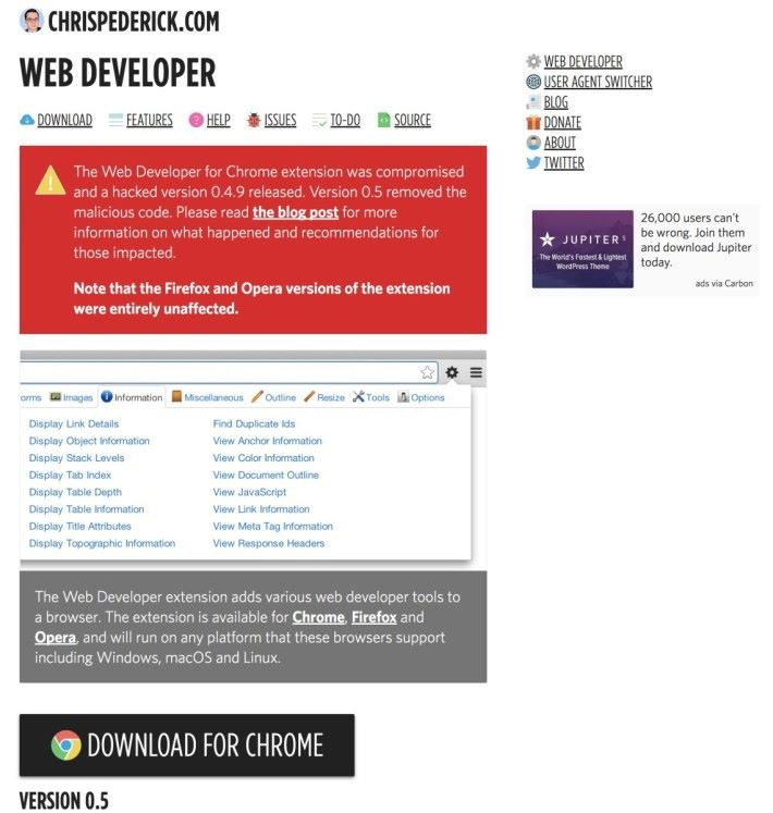Web Developer 作者 Chris 在網站上公布已清除有害的程式碼,並已發佈版本 0.5 。