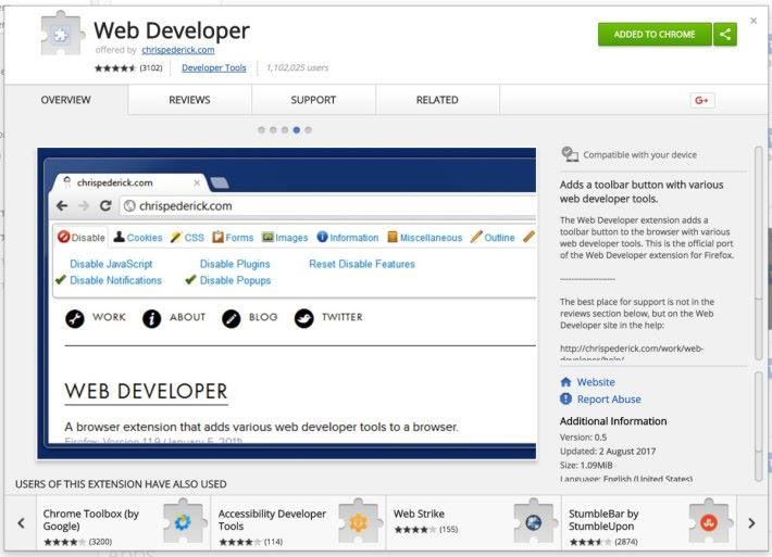 Web Developer 是不少架站者的愛用工具。