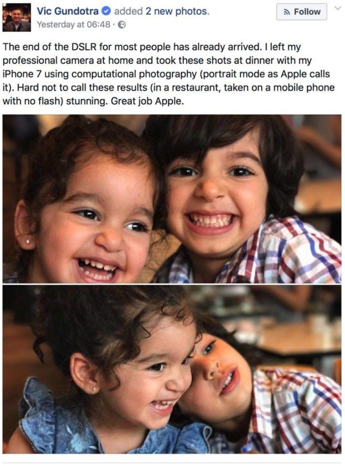 Vic Gundotra 在 Facebook 發表帖子,大讚 iPhone 7 所拍的人像照。