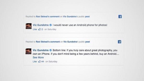 他更表示不會再用 Android 手機拍照。