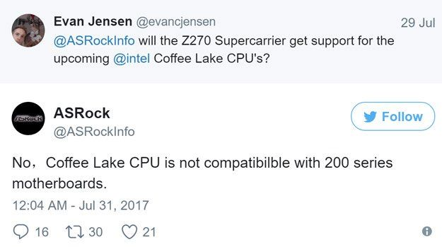 ASRock 於 Twitter 表示下一代 Coffee Lake CPU 將不能用於 Z270 主機板。