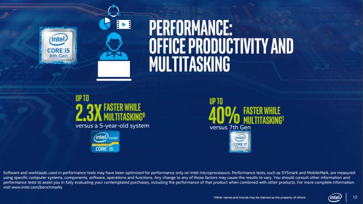 第八代 CPU 比第七代在多工處理有 48% 效能提升。