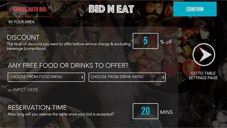Bid N Eat 為食肆建立「BNE Merchants」應用,提供數據分析,由食肆決定餘下餐桌的折扣優惠。