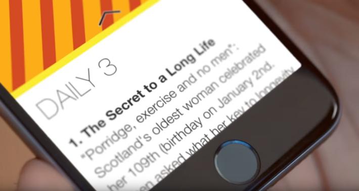 在 Snapchat Discover 中,若對新聞圖片感興趣,可向上滑動閱讀內文。