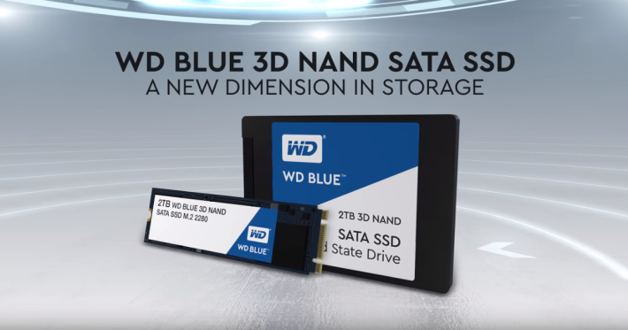 WD Blue 3D NAND SATA SSD 採用 64 層 3D NAND 技術。