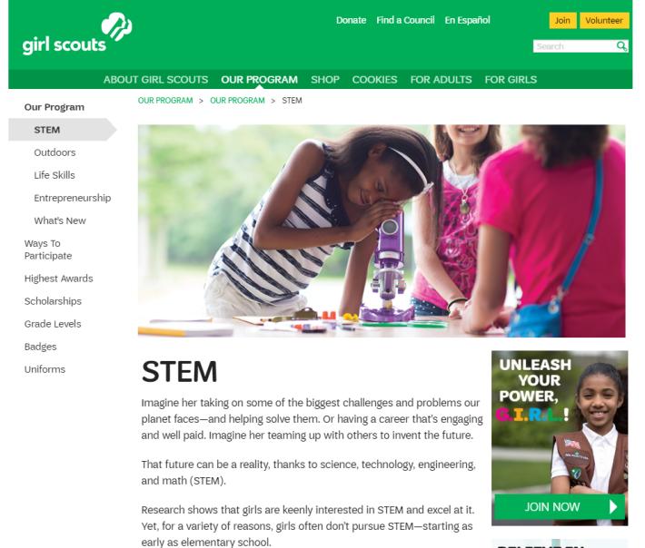 女童軍提出發展 STEM 技能,並提出 STEM 與環境的密切關係。