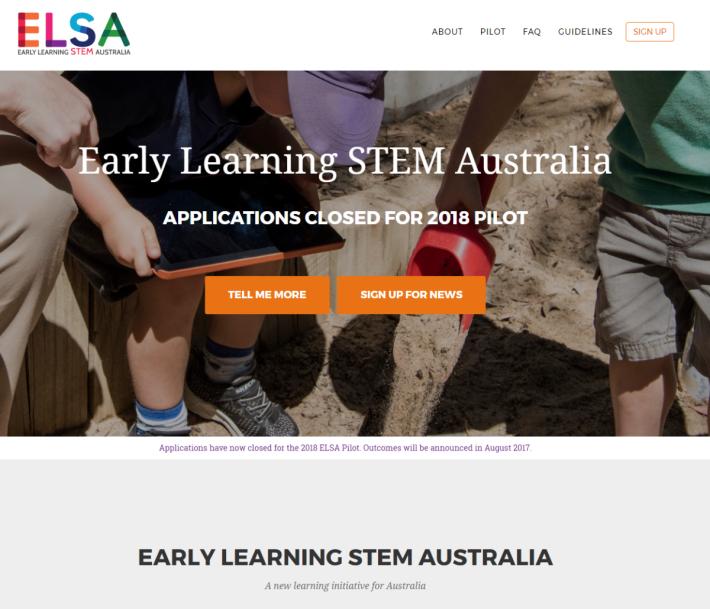 澳洲政府現正展開學前 STEM 教育推廣,Early Learning STEM Australia ( ELSA )是負責推動的組織。