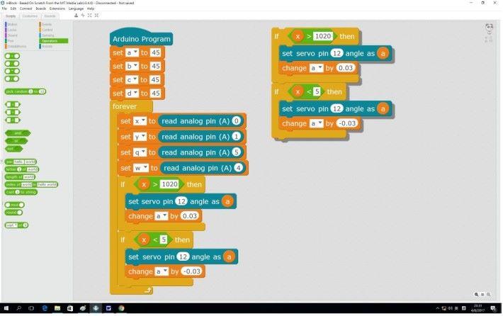 Step 1: 承上期,複製一個控制桿控制一個伺服馬達的程式,於右邊空白地方。
