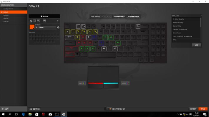 用家可於工具自定不同按鍵 之 RGB 背光,亦有多種預設 模式供選擇。
