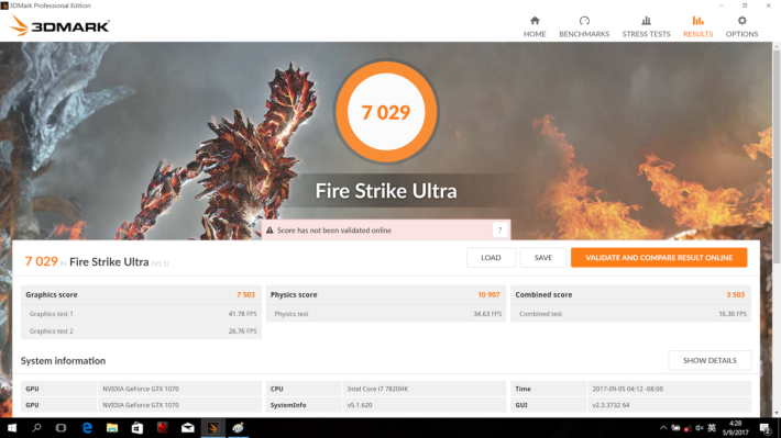 Fire Strike Ultra 則跑出 7,000 多分,較單卡(約3,900分)高出八成,亦遠勝單 GTX 1080(約 5,100 分)。