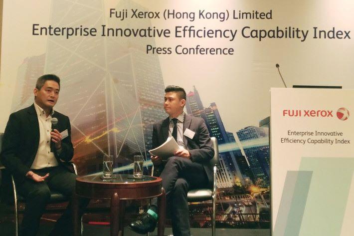 富士施樂的市場部總監鍾建業向奧雅納的徐潤昌博士了解如何做到企業創新。