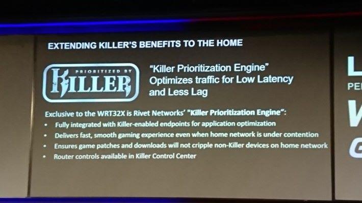 WRT32X 的 Killer Prioritization Engine 能大幅減低 Killer 網卡裝置的網絡延遲。