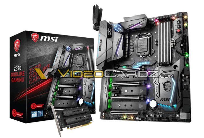 而這款 MSI Z370 Godlike Gaming 就有 5 個 M.2 插槽及 AC Wi-Fi 天線。Source:Videocardz