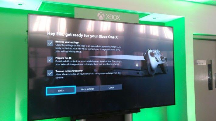 備份資料可以轉移至 Xbox One X,玩家只要幾個步驟就能過渡至新機。