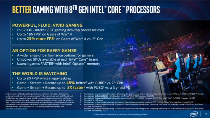 Intel 第 8 代 CPU 之遊戲測試數據。