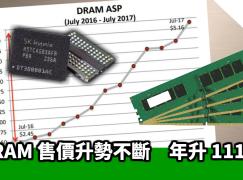 DRAM 售價升勢不斷 年升 111%