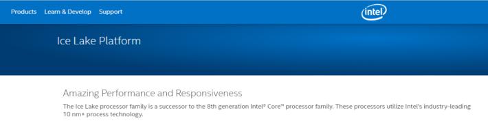 Intel 在官方網站公佈第八代處理器的後繼者為 10nm+ Ice Lake 系列。