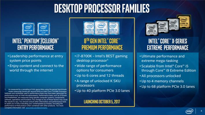 Coffee Lake-S 桌面級 CPU 將於 10 月 5 日開賣。