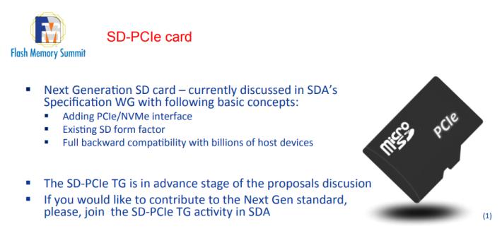 SD-PCIe 卡將沿用現時的 Form Factor,對下兼容目前的裝置。