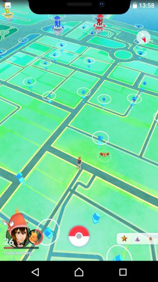 玩 Pokemon Go 會遮蓋地圖,看不到遠方道館上是甚麼精靈。