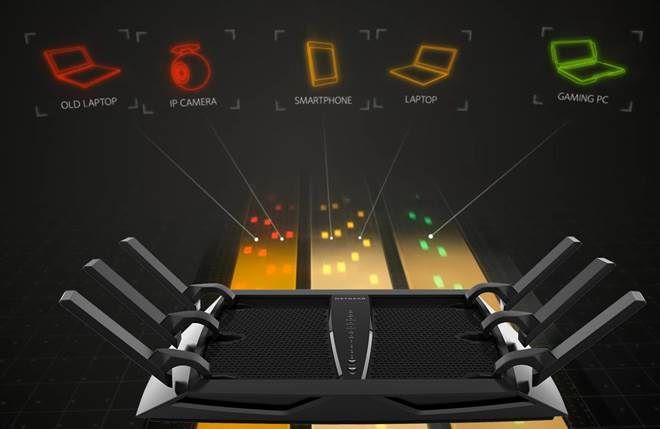 Netgear 三頻 Smart Connect 技術會自動把裝置分配到合適的頻譜。