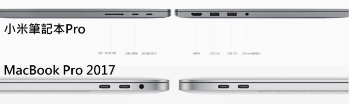 小米筆記本 Pro 的連接埠確實是比 MacBook Pro 多及方便。