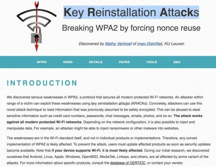 Mathy Vanhoef 開設了網站說明這次發現的 WPA2 漏洞