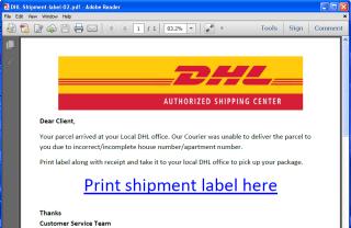 偽造的 DHL 釣魚文件