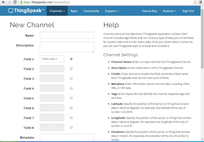 Step 3:設定 Channel 內的資料,在 Name 中鍵入這個 Channel 的名字, 例如「人流計算」,在 Field 1 中鍵入「人數」。