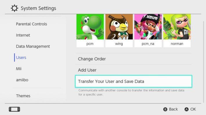 首先在「User」中選擇「 Transfer Your User and Save Date 」。