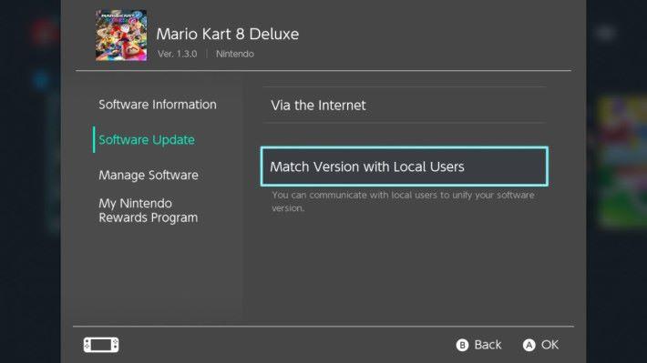 在介面選遊戲前按「+」,再選擇 「 Software Update 」的「 Match Version with Local Users 」。