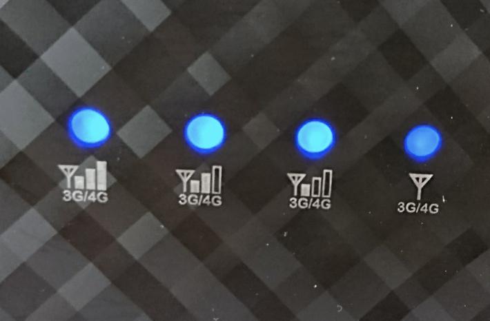 有燈顯示 4G 訊號強度。