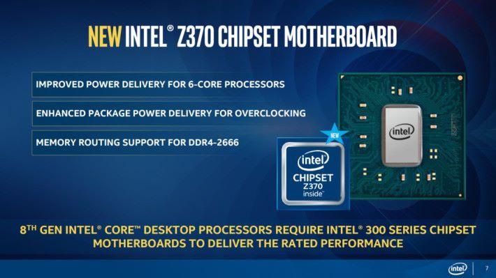 Intel 說明要用 Z370 的 LGA1151 才能令 Coffee Lake 發揮最大效用,不過 Z270 其實都有足夠供電給新 CPU。