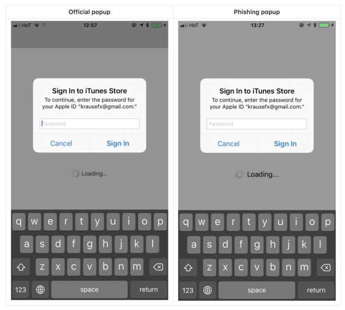 程式開發者 Felix Krause 模仿 Apple ID 的密碼介面(右),展示如何以假亂真。
