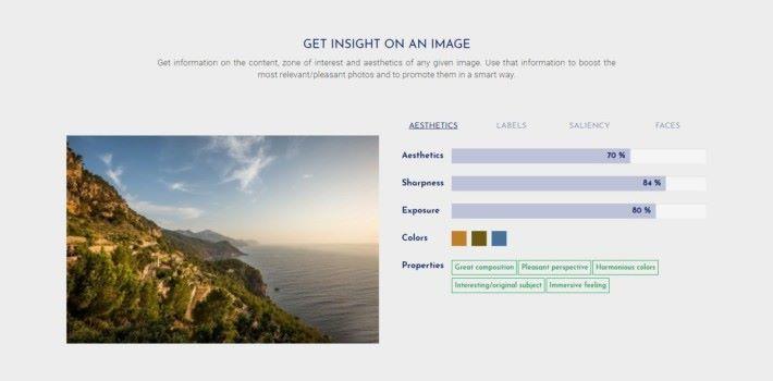 透過 Regaind 的 API 就能分析相片,分析內容包括銳利度、曝光及主要顏色等。