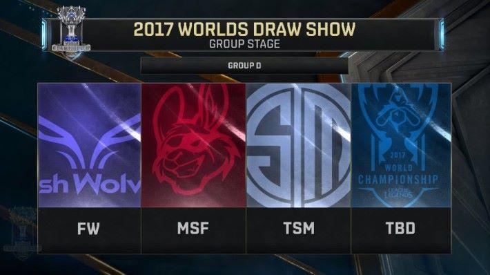 D 組由台灣 Flash Wolves( FW )、歐洲 Misfits Gaming( MSF )、Team SoloMid( RNG )、中國 Team WE ( WE )所組成。