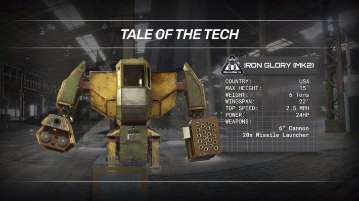 Megabots 設計的 Iron Gloy(MK2) 是早期機體,設計上明顯落後於水道橋重工,主力武器是油漆炮彈。