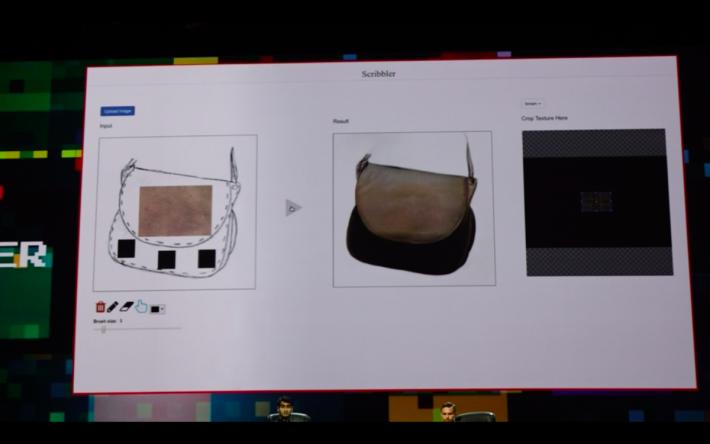 左邊的草圖上加入圖案,Project Scribbler根據紋理、色調,自動填色。