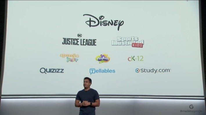 Google 特地與迪士尼等兒童內容供應商合作,為 Google Home 提供適合兒童的內容。