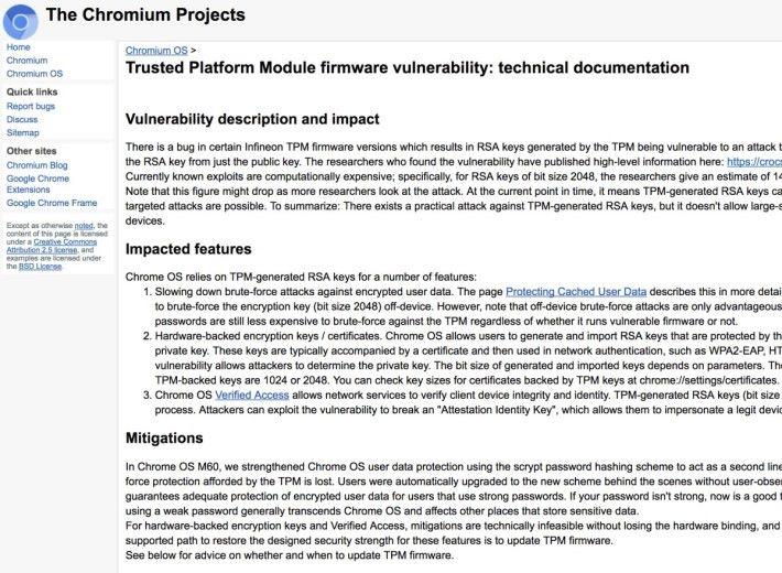 Chromium OS 經已推出修正檔補救