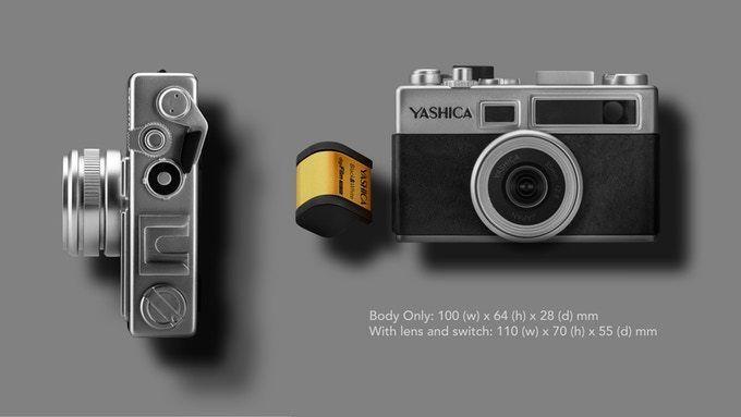 連鏡頭的尺寸也很細,只有 110×70×55mm,機頂還有「過片」用的撥桿 。
