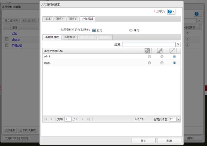 用 Admin 帳戶新增共用資料夾時,預設 Admin 是沒有任何權限,所以記得自行設定。使用時應該開設另一個帳號只用作存取檔案用。