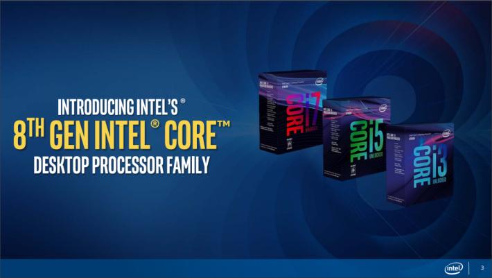Intel Coffee Lake CPU 將於後天開賣。
