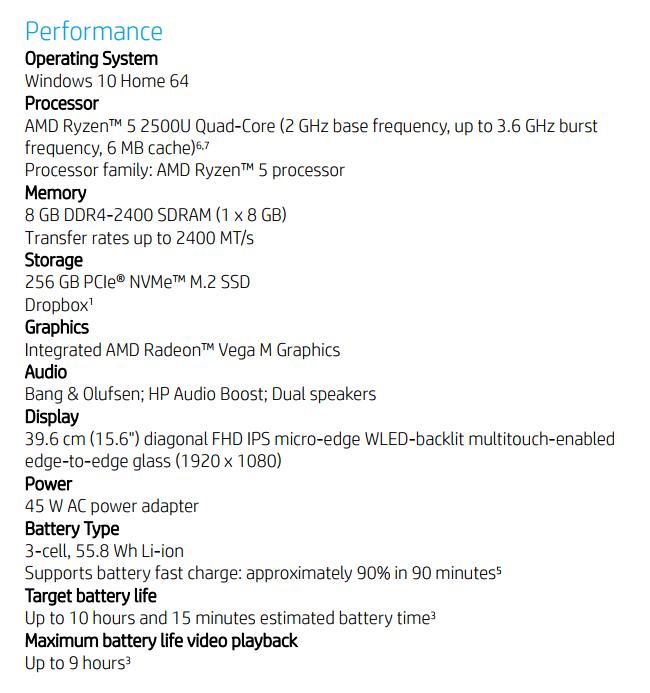 HP Envy X360 15-BQ101NA 之規格。