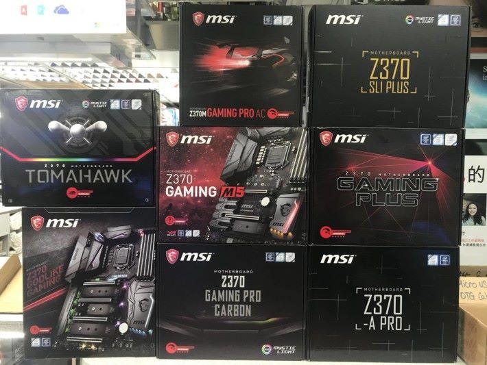 MSI 也有 8 款 Z370 到貨,其中 Z370-A Pro 為目前便宜的 Z370,售價為 $950。Source:Comdex
