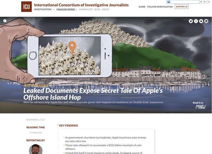ICIJ 的《天堂文件》披露 Apple 將海外利潤轉移到澤西島