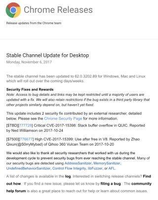 Google 發布 Chrome 瀏覽器的最新保安更新,當中修正了兩項高危漏洞。