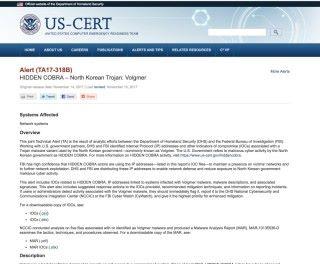 US-CERT 公布有關北韓研發的惡意軟件 Volgmer 的詳情和相關 IP 清單